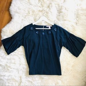 Tops - Navy Satin Top with neck line details Size XS